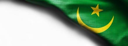 Mauritania waving flag on white background - right top corner stock illustration