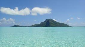 Maupiti island, blue lagoon, volcanic island , green vegetation of bora French Polynesia stock image