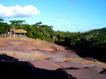 Maurícias, vista das terras coloridas de Chamarel Fotografia de Stock Royalty Free