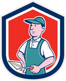 Maurer Mason Plasterer Shield Cartoon Lizenzfreies Stockbild
