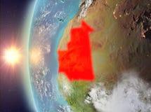 Mauretanië tijdens zonsondergang van ruimte Royalty-vrije Stock Fotografie