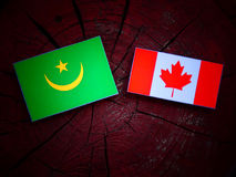 Mauretania flaga z kanadyjczyk flaga na drzewnym fiszorku odizolowywającym zdjęcia stock