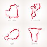 Mauretania, Mozambik, Niger i Namibia, - kontur mapa royalty ilustracja