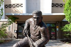 Maurice. Richard bronze statue in front of the arena of the same name in Montreal stock images