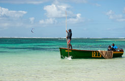 Maurician fishermen at work. The fishermen on the fishing Royalty Free Stock Photos