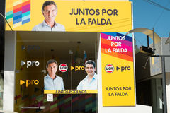Mauricio Macri campaign ad. LA FALDA, ARGENTINA- AUGUST 24, 2015:  Conservative candidate and current Argentinian president campaign ad Royalty Free Stock Photography