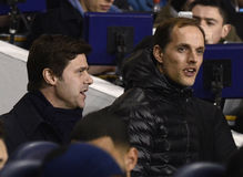 Mauricio Pochettino and Thomas Tuchel. The managers of the teams pictured prior to the UEFA Europa League round of 16 game between Tottenham Hotspur and Borussia royalty free stock photo