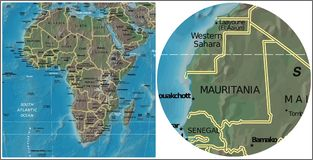 Mauritania and Africa map Royalty Free Stock Photo