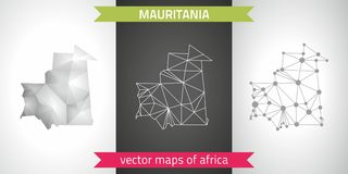 Mauritania collection of vector design modern maps, gray and black and silver dot contour mosaic 3d map. Set of Mauritania polygonal mosaic modern maps Royalty Free Stock Photography