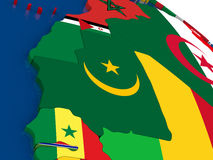 Mauritania on 3D map with flags Stock Photo