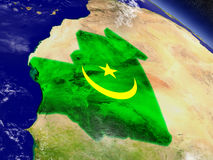 Mauritania with embedded flag on Earth Stock Image