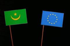 Mauritania flag with European Union EU flag isolated on black Stock Photos