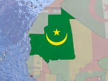 Mauritania with flag on globe Stock Photo