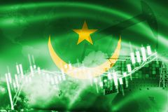 Mauritania flag, stock market, exchange economy and Trade, oil production, container ship in export and import business and. Logistics, background, banner stock illustration