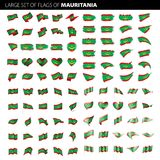 Mauritania flag, vector illustration. On a white background. Big set Stock Image
