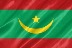 Mauritania Flag. With waving on satin texture royalty free illustration