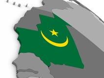 Mauritania on globe with flag Royalty Free Stock Photo