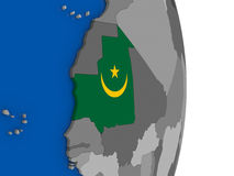 Mauritania on globe with flag Royalty Free Stock Images
