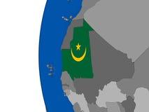 Mauritania on globe Stock Images