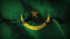 Mauritania grunge dirty flag waving on wind. Mauritanian background fullscreen grease flag blowing on wind. Realistic filth fabric texture on windy day Royalty Free Stock Photo