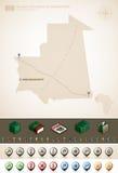 Mauritania. Islamic Republic of Mauritania and Africa maps, plus extra set of isometric icons & cartography symbols set (part of the World Maps Set Royalty Free Stock Photos
