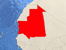 Mauritania on map Royalty Free Stock Photo