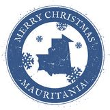 Mauritania map. Vintage Merry Christmas. Mauritania map. Vintage Merry Christmas Mauritania Stamp. Stylised rubber stamp with county map and Merry Christmas Royalty Free Stock Photo