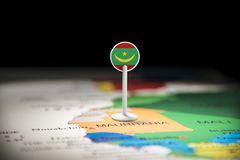 Mauritania marked with a flag on the map. Mauritius marked with a flag on the map royalty free stock photo