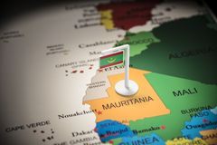 Mauritania marked with a flag on the map. Mauritius marked with a flag on the map stock image