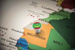 Mauritania marked with a flag on the map. Mauritius marked with a flag on the map royalty free stock images