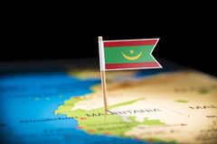 Mauritania marked with a flag on the map. Mauritius marked with a flag on the map stock photo