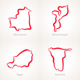 Mauritania, Mozambique, Niger and Namibia - Outline Map. Outline map of Mauritania, Mozambique, Niger and Namibia, marked with red line Royalty Free Stock Photo