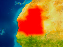 Mauritania on physical map Royalty Free Stock Photo