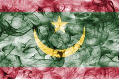 Mauritania smoke flag isolated on a white background. Mauritania smoke flag isolated on a white background Royalty Free Stock Images
