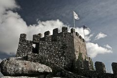 Mauritanian fortress with flags stock photography