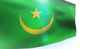 Mauritanian national official flag waving in the wind stock footage