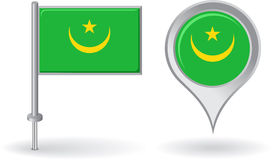 Mauritanian pin icon and map pointer flag. Vector Royalty Free Stock Images