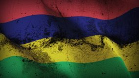 Mauritius grunge dirty flag waving on wind. Mauritian background fullscreen grease flag blowing on wind. Realistic filth fabric texture on windy day Royalty Free Stock Image