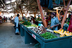 Mauritian farmer's selling fresh vegetables Stock Photo