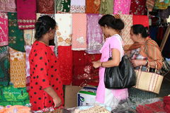 Mauritian Women - Market Scene Royalty Free Stock Photos