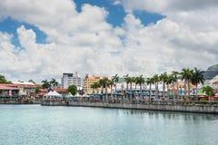 Mauritius ö, Port Louis, Caudan strand, hamnen Royaltyfri Fotografi