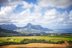 Mauritius. Flying with a helicopter over the landscape of Mauritius Royalty Free Stock Photos