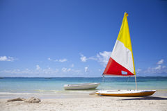 Mauritius. Boat at the paradise beach of Mauritius Royalty Free Stock Image