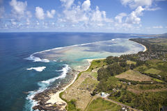 Mauritius. Flying with a helicopter over the paradise island Mauritius in Africa Stock Photo