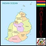 Mauritius Administrative divisions. Mauritius map flag and coat Stock Image