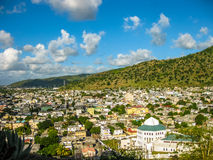 Mauritius aerial. Aerial view of the city of Port Louis, Fort Adelaide overlook, La Citadelle, the capital of the Mauritius Republic, Indian Ocean Stock Photo