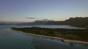 Mauritius aerial view with ocean and mountain ranges. Aerial scene of Mauritius. Le Morne Brabant peninsula, blue ocean and mountain ranges on the island stock video