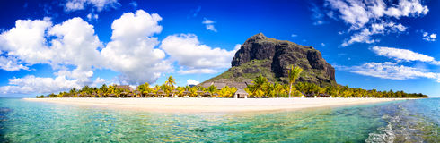 Mauritius beach panorama. White sand beach and Le Morne Brabant mountain, Mauritius Royalty Free Stock Image