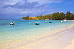 Mauritius. Belle Mare beach at Mauritius stock images