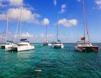 Mauritius. Catamarans dichtbij eiland Gabriel stock foto